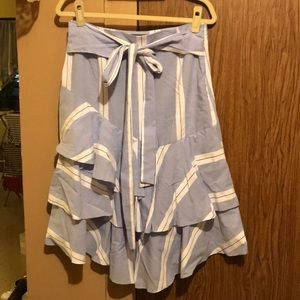 Striped Skirt with Frill & Front Tie
